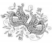 deux oiseaux paons mandala dessin à colorier