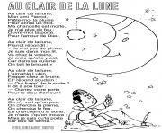 au clair de la lune comptine berceuse avec paroles dessin à colorier