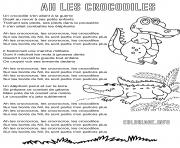 ah les crocodiles comptine enfants avec paroles dessin à colorier