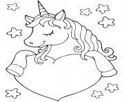 licorne avec un coeur et etoiles dessin à colorier