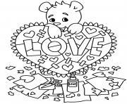 Coloriage ourson avec coeur dessin