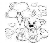 ours en peluche avec des ballons en forme de coeurs dessin à colorier