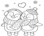 hiver pingouins en amour dessin à colorier