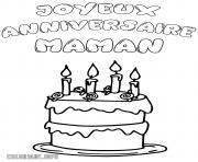 joyeux anniversaire maman gateau dessin à colorier