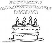 joyeux anniversaire papa gateau dessin à colorier