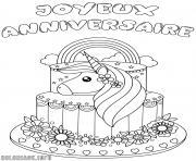 joyeux anniversaire licorne dessin à colorier