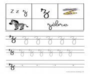 lettre Z pour Zebre ecriture cursive gs dessin à colorier