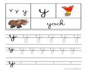 lettre Y pour Yack ecriture cursive gs dessin à colorier