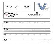 lettre V pour Vache ecriture cursive gs dessin à colorier