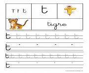 lettre T pour Tigre ecriture cursive gs dessin à colorier