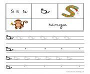 lettre S pour Singe ecriture cursive gs dessin à colorier