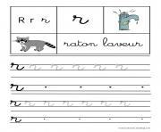 lettre R pour Raton laveur ecriture cursive gs dessin à colorier