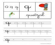 lettre Q pour Quetzal ecriture cursive gs dessin à colorier
