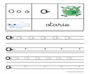 lettre O pour otarie ecriture cursive gs dessin à colorier