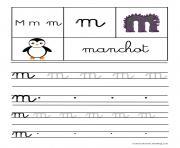 lettre M pour Manchot ecriture cursive gs dessin à colorier