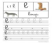 lettre L pour Loup ecriture cursive gs dessin à colorier