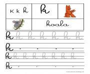 lettre K pour Koala ecriture cursive gs dessin à colorier