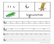lettre i pour iguane ecriture cursive gs dessin à colorier