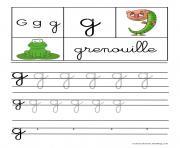lettre G pour Grenouille ecriture cursive gs dessin à colorier