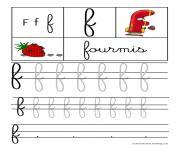 lettre F pour Fourmis ecriture cursive gs dessin à colorier