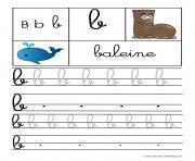 lettre B pour Baleine ecriture cursive gs dessin à colorier