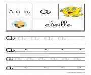 lettre A pour abeille ecriture cursive gs dessin à colorier