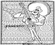 disney coco ernesto fond mandala adulte dessin à colorier