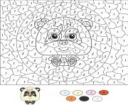 animaux panda par numero dessin à colorier