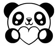 panda kawaii avec coeurs dessin à colorier