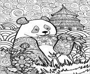 panda et motifs en chine mandala animaux dessin à colorier