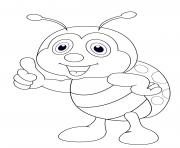 Coloriage coccinelle debout cartoon enfants