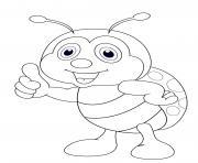 coccinelle debout cartoon enfants dessin à colorier