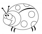 coccinelle insecte rouge et noir dessin à colorier