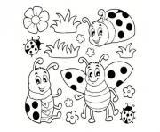 famille de coccinelle dans la nature dessin à colorier