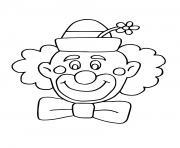 amusant clown souriant et un chapeau avec fleur dessin à colorier