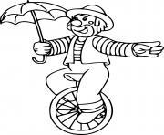 clown de cirque sur une roue en equilibre dessin à colorier