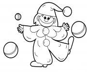 clown fille avec des ballons dessin à colorier