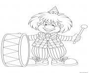 clown pour enfants et son instrument de musique dessin à colorier