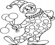clown avec son deguisement et des ballons de celebration dessin à colorier