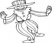 Coloriage clown avec un gateau d anniversaire dessin