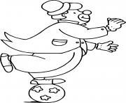 Coloriage un clown equilibriste sur un ballon dessin