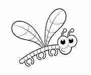 insecte libellule adorable avec de gros yeux dessin à colorier