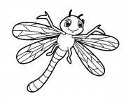 libellule souriant insecte adorable dessin à colorier