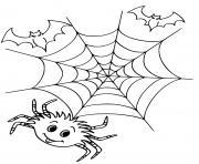 toile araignee et chauve souris halloween dessin à colorier