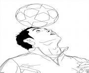 ronaldo cristiano ballon de foot sur la tete dessin à colorier