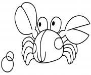crabe pour enfant ocean mer dessin à colorier