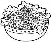 repas sante salade et tomates legumes dessin à colorier