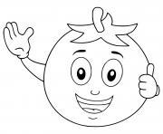 personnage tomate te salut dessin anime dessin à colorier