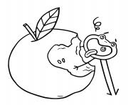 manger des pommes pour etre en sante dessin à colorier