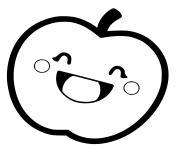 pomme kawaii dessin à colorier